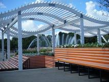橙色长凳在高尔基公园,莫斯科 库存图片