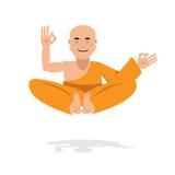 橙色长袍的西藏修士 新手瑜伽 莲花的佛教徒 免版税库存照片