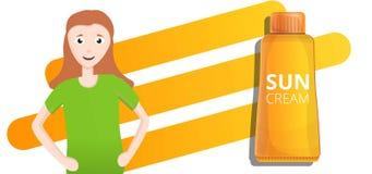 橙色防晒霜管概念横幅,动画片样式 库存例证