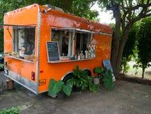 橙色食物卡车在毛伊夏威夷 免版税图库摄影