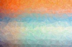 橙色,蓝色和灰色Impasto的抽象例证与大刷子的抚摸背景 免版税库存照片