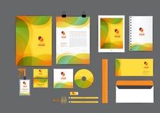 橙色,绿色和黄色与曲线图表公司本体模板 免版税库存图片