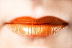 橙色嘴唇 免版税图库摄影