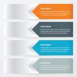 橙色水平的横幅的设计,蓝色,灰色颜色 库存例证