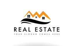 橙色黑房地产房子商标象公司 免版税库存照片