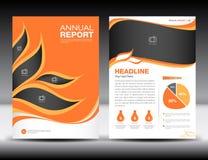 橙色年终报告模板,盖子设计,小册子fl yer,信息 皇族释放例证