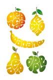 橙色 柠檬 香蕉 梨 苹果计算机 库存照片