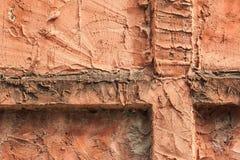 橙色水泥墙壁 免版税库存图片