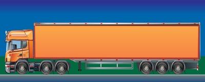 橙色货物送货卡车 免版税图库摄影
