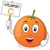 橙色维生素C微笑的字符 库存例证
