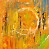 橙色绘画的技巧抽象 免版税库存图片