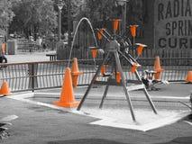 橙色建筑锥体 库存图片