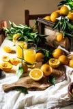 橙色 Haervest概念 橙汁,充分的箱子桔子结果实蚂蚁在桌上的橙树分支与亚麻布 免版税图库摄影