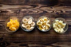 橙色bananna菠萝苹果 免版税图库摄影