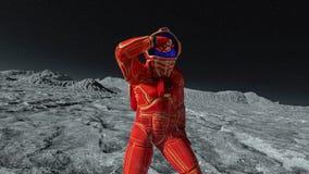橙色exo衣服的跳舞的宇航员探索和