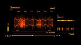 橙色HUD声音录音接口图表元素 向量例证