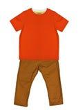橙色T恤杉和芥末牛仔裤 免版税库存图片