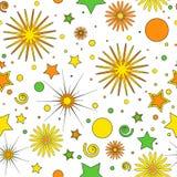 橙黄色和绿色小点,星、卷毛和花儿童的项目的无缝的样式,在白色背景,传染媒介 皇族释放例证