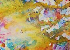 橙黄色易受伤害的地方背景,闪耀的泥泞的蜡状的油漆,对比塑造在淡色颜色的背景 免版税图库摄影