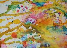 橙黄色蓝色柔和的淡色彩察觉背景,闪耀的泥泞的蜡状的油漆,对比在淡色颜色的形状背景 库存图片