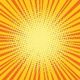 橙黄光芒可笑的流行艺术减速火箭的背景 库存例证