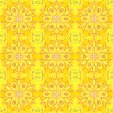 橙黄无缝的规则花卉的样式 库存图片