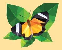 橙黄色和黑色蝴蝶飞过与在一片绿色叶子的白色小条,低多角形水晶设计隔绝在树上面 免版税库存图片