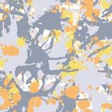 橙黄色灰色iink油漆飞溅无缝的样式 免版税库存照片