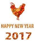 橙黄金雄鸡隔绝了多角形2017年的传染媒介标志 免版税库存图片