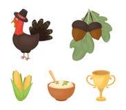 橡子,玉米 arthene纯汁浓汤,欢乐火鸡,在动画片样式的加拿大感恩天集合汇集象导航标志 库存例证