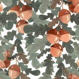 橡木分支 无缝的模式 免版税库存照片