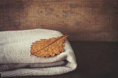 橡木干燥叶子和温暖被编织的羊毛衫 免版税库存照片