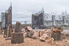 橡木木柴,为取暖季节、裁减和分裂木柴,工作流做准备在房子附近的围场,家事,没人, ru 免版税库存图片