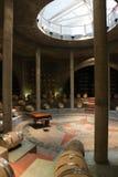 橡木桶和钢琴在葡萄园Wharehouse里 库存图片