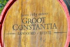 橡木葡萄酒桶Groot Constantia Landgoed庄园 免版税库存照片