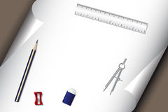 橡皮擦纸铅笔集合文教用品 免版税库存照片