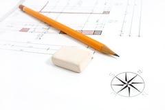 橡皮擦铅笔项目 免版税库存照片