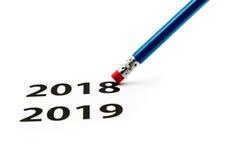 橡皮擦 背景概念查出的目的程序时间白色 以后的新年度 库存图片