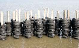 橡胶轮胎墙壁 库存照片
