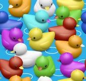 橡胶鸭子样式无缝的瓦片 库存照片