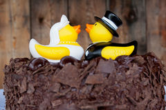 橡胶鸭子蛋糕 免版税图库摄影