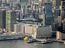 橡胶鸭子项目,香港 免版税库存图片