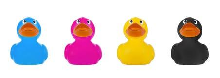 橡胶鸭子CMYK概念 免版税图库摄影