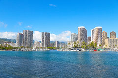 檀香山在一清早,夏威夷 免版税库存照片