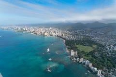 檀香山夏威夷一张鸟瞰图在奥阿胡岛海岛上的  图库摄影