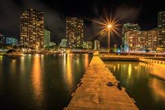 檀香山港口地平线在夜之前 免版税库存图片