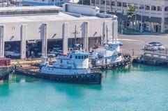 檀香山港口拖轮 免版税库存照片