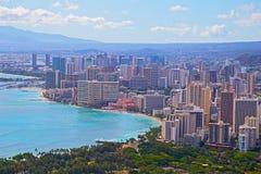 檀香山街市地平线在夏威夷,美国 图库摄影