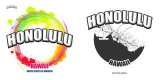 檀香山,夏威夷,两件商标艺术品 免版税图库摄影