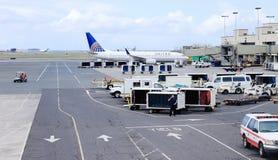 檀香山,夏威夷,美国- 2016年5月31日:在檀香山国际机场的团结的航空公司航空器 免版税库存图片